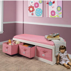 """Badger Basket - Kid's Storage Bench with Cushion and Three Bins - Features: -Ample storage to organize toys, stuffed animals, clothes, videos, games, linens, towels, and more.-Sized for children to enjoy as a reading spot, or a place to perch while dressing and putting on shoes.-Bins are fully removable for use and they fold flat for storage if not being used.-Illustrated instructions included.-Distressed: No.-Frame Material: MDF.-Fabric Material: PU (synthetic) leather.-Hardware Material: Nickel-plated steel hinges.-Solid Wood Construction : No.-Non-Toxic: Yes.-Insect Resistant: No.-Rot Resistant: No.-Number of Baskets: 3.-Upholstered: Yes.-Casters: No.-Stackable: No.-Weight Capacity: 200 lbs.-Swatch Available: No.-Commercial Use: No.-Recycled Content: No.-Eco-Friendly: Yes.-Product Care: Wipe clean with a damp cloth and dry thoroughly.-Age Recommendation: 2 years and up.-Fabric Color (Finish: White with Pink): Pink.-Fabric Color (Finish: Espresso with Espresso): Brown.Specifications: -FSC Certified: No.-CPSIA or CPSC Compliant: Yes.-CARB Compliant: Yes.-JPMA Certified: No.-ASTM Certified: Yes.-PEFC Certified: No.-Green Guard Certified: No.Dimensions: -Overall Product Weight: 35.2 lbs.-Overall Height - Top to Bottom: 13.75"""".-Overall Width - Side to Side: 45.25"""".-Overall Depth - Front to Back: 15.75"""".-Basket: -Basket Height - Top to Bottom: 7.5"""".-Basket Width - Side to Side: 14"""".-Basket Depth - Front to Back: 15""""..-Seat : -Seat Height - Top to Bottom: 13.75""""..Assembly: -Assembly Required: Yes.-Tools Needed: Screwdriver.-Additional Parts Required: No.Warranty: -Product Warranty: Product has a 30 day parts warranty for manufacturer's defects.."""
