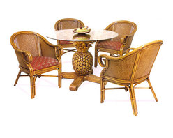 "Hospitality Rattan - Sunset Reef Rattan and Wicker Tropical 6 Pc. Dining Set - The Sunset Reef is a high end Rattan dining set with a Pineapple carved table base. The Pineapple Dining Table is hand casted of fiberglass with small rattan pole pieces inserted along the top, making this a very unique pedestal base. A 48"" round glass table top completes the table.The chairs are built of Solid all natural Rattan pole and all natural wicker weave. Fabric comes in the Banana Bay Chili as shown in listing photo."