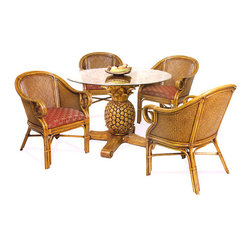 """Hospitality Rattan - Sunset Reef Rattan and Wicker Tropical 6 Pc. Dining Set - The Sunset Reef is a high end Rattan dining set with a Pineapple carved table base. The Pineapple Dining Table is hand casted of fiberglass with small rattan pole pieces inserted along the top, making this a very unique pedestal base. A 48"""" round glass table top completes the table.The chairs are built of Solid all natural Rattan pole and all natural wicker weave. Fabric comes in the Banana Bay Chili as shown in listing photo."""