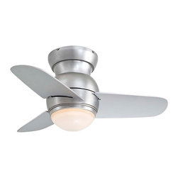 """Minka Aire - Contemporary 26"""" Minka Aire Spacesaver Brushed Steel Hugger Ceiling Fan - The Spacesaver ceiling fan from Minka Aire offers contemporary styling and superb air circulation. The brushed steel finish of the motor offers a clean look and the hugger mount makes it a good choice for lower ceilings. Three matching blades orbit the smooth rounded motor housing while the integrated light kit glows with etched opal glass. This fan is a great fit for variety of decor styles and an especially great choice for lofts and urban apartments. Brushed steel finish. Hugger mount. Integrated etched opal glass light. Includes one 50 watt mini-can halogen bulb. 26"""" blade span. 14 degree blade pitch.  Brushed steel finish.   Hugger mount.   Integrated etched opal glass light.   Includes one 50 watt mini-can halogen bulb.   3-wire installation wall control included.  26"""" blade span.   14 degree blade pitch.  Fan height 8"""" ceiling to blade.  Fan height 11"""" ceiling to bottom of light kit."""