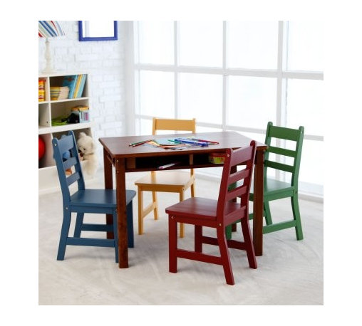 Lipper Childrens Walnut Rectangle Table and 4 Chairs - Great for homes with lots of little ones daycares or churches the Lipper Childrens Walnut Rectangular Table and 4 Chairs is built to endure what kids dish out. This set includes a rectangular table in a classic Walnut finish and four chairs in blue red green and orange. Each piece is crafted from strong beechwood and finished with a protective coating that will withstand years of use. Recessed cubby shelves provide the perfect storage spot for small toys books or drawing supplies. This traditionally styled set adds fun and functionality to any room. Some assembly is required. Cubby Dimensions: Long side: 11W x 9D x 2.5H inches Short side: 5.75W x 14.5D x 2.5H inches About Lipper InternationalLipper International provides exceptionally valued kitchen home & office organizers including the Soho Spice Collection; single serve coffee pod organizers; kitchen pantryware cutting boards and tools; serving & entertaining accessories; and children's furniture and toy chests. Lipper uses the finest quality materials including stainless steel bamboo acacia wood chrome- and powder-coated metals and other fine quality hard woods. Known for product functionality as well as beauty and quality craftsmanship Lipper International combines quality style service and price into every product and collection it offers.