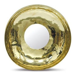 Round Sleek Gold Circular Mirror - A hammered, gold round mirror adds sparkle and glamour to a modern interior.