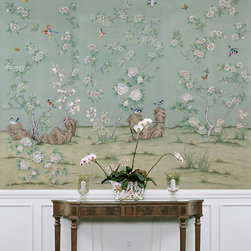 Beauvais Silk Wallpaper Mural - Hand-painted silk chinoiserie wallpapers are the ultimate luxurious showpieces. Instead of using these beauties wall to wall, try creating a focal point by framing a panel or two. You can also fill picture frame wainscoting with it throughout a room.