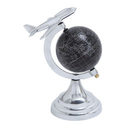 """Benzara - Metal Globe with White Mapping on Black Background - Infuse dynamic features of modern and medieval times through this Modern Aluminum Globe with White Mapping on Black Background. Though it may look a small addition to your interiors, it is sure to enhance the appeal of your room. This aluminum globe exhibits superior style that can outgrow any comparison in home decor. It is made of fine aluminum that is completely covered in black paint with a matte finish. The feature that makes it closer to the modern age is the white line mapping done on the entire surface to imitate the world map in monotone. This excellent use of white makes it look elegant and more sophisticated. This piece has an airplane placed on the top of the globe that represents flight symbolizing success. The sturdy metal base makes it strong and durable, giving a good grip on wooden tables and desks in the study room to enable hassle-free use..; Made from aluminium; Sturdy round base; White mapping on a black background; An airplane taking flight on the top; Weight: 0.88 lbs; Dimensions:7""""W x 5""""D x 10""""H"""