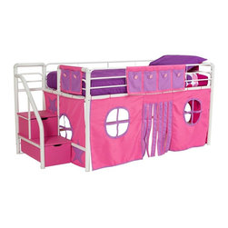 Dorel Home Products - Bunk and Loft Bed Curtain Set in Pink - Bed sold separately. Removable and washable. Adds character to bunk bed. Creates private space for quiet moments and playtime. Warranty: One year. 77 in. L x 40 in. W x 30 in. H (2 lbs.)Kids will love the bold solid colors of this fun curtain set for the Fantasy loft bed.