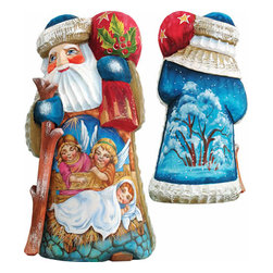 """Artistic Wood Carved Watchful Eyes Santa Claus Nativity Sculpture - Measures 6.5""""H x 3.5""""L x 3.5""""W and weighs 1 lb. G. DeBrekht fine art traditional, vintage style sculpted figures are delightful and imaginative. Each figurine is artistically hand painted with detailed scenes including classic Christmas art, winter wonderlands and the true meaning of Christmas, nativity art. In the spirit of giving G. DeBrekht holiday decor makes beautiful collectible Christmas and holiday gifts to share with loved ones. Every G. DeBrekht holiday decoration is an original work of art sure to be cherished as a family tradition and treasured by future generations. Some items may have slight variations of the decoration on the decor due to the hand painted nature of the product. Decorating your home for Christmas is a special time for families. With G. DeBrekht holiday home decor and decorations you can choose your style and create a true holiday gallery of art for your family to enjoy. All Masterpiece and Signature Masterpiece woodcarvings are individually hand numbered. The old world classic art details on the freehand painted sculptures include animals, nature, winter scenes, Santa Claus, nativity and more inspired by an old Russian art technique using painting mediums of watercolor, acrylic and oil combinations in the G. Debrekht unique painting style. Linden wood, which is light in color is used to carve these masterpieces. The wood varies slightly in color."""