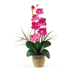 Nearly Natural - Phalaenopsis Silk Orchid Flower Arrangement - Bursting with color and personality the Phalaenopsis is perhaps the most popular variety of all the orchids. Six lively blooms and two buds are complimented by genuine bamboo, which enhances the silk plant's authenticity. Featuring nearly natural leaves, moss and roots, this familiar favorite is sure to charm the masses.