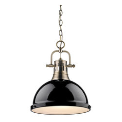 Golden Lighting - Golden Lighting 3602-L-AB-BK Duncan 1 Light Pendants in Aged Brass - Contemporary Style with industrial feel. Simple, classic silhouette. Fixture body is available in Chrome, Aged Brass, and Pewter. Variety of plated and painted metal shade finishes. Frosted glass diffuser. A pendant bowl provides a glowing presence in dining and entry areas. Brings a high and diffuse light to kitchen or task areas. Allows for greater open area around the fixture.