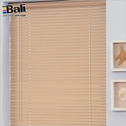"""Bali Aluminum Blinds - 1"""" Customiser Mini Blinds. Whites and off-whites,Neutrals - 1"""" Customiser Mini Blinds - Buy with Confidence, Get Free Samples Today!Bali Customiser 6-gauge aluminum mini blinds offer all the benefits of custom-made mini blinds, but with an incredible price. A clutch tilter and crash-proof cordlock ensures you'll have smooth, reliable operation. These Bali blinds have durable 1"""" aluminum slats in a wide assortment of popular designer colors. The hardware includes a steel headrail and bottomrail, with a deluxe 2 slat valance (color-coordinated). Customiser Bali mini blinds are backed by a Limited Lifetime Warranty. Install Time: 10-12 minutesWe Recommend:"""