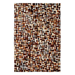 Dynamic Rugs - Dynamic Rugs Leatherwork 8108-666 (Brown, Multi) 3' x 5' Rug - Leatherwork is a collection of fresh designs styled in modern looks from renewable, natural materials. There is no denying the appeal of these attractive natural looks in today's fashion for floor coverings. Some of the rugs in this collection are made with high fashion, stitched, leather patch finishes. This styling technique of blending natural colorations of leather in a patchwork field results in unique designs for each rug. The other rugs which both completes and adds uniqueness to the collection are constructed with high quality wool pile and leather insets to create lovely textured, softly blending patterns.The resulting styling of the rugs in this collection range from modern stripe patterns to appealing lodge look designs. All of the rugs are finished with felted backing for a more stability on the floor and a softer feel under the foot.