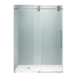 """VIGO Industries - VIGO 72-inch Frameless Shower Door 3/8"""" Clear/Stainless Steel Hardware - This VIGO clear shower door adds a touch of elegance and luxury to any bathroom."""