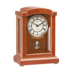 "Renovators Supply - Clocks Walnut Wooden Parisian Pendulum Clock | 14252 - An elegant clock in a warm honey and light walnut brown finish. Goldtone pendulum. AA battery not included. 8 1/2"" wide x 11 13/16 high x 5 1/2"" deep."