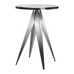 Safavieh - Radius Accent Table - Magic meets the mechanized world. The Radius Accent table brings shiny, industrial chic to the favorite starburst-style side table. Its hefty stainless steel and construction is paired perfectly with its reflective black and silver finish.