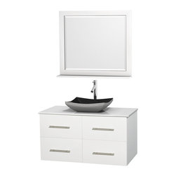 "Wyndham Collection - Centra Bathroom Vanity in White,WT Stone Top,Altair Black Sink,36"" Mir - Simplicity and elegance combine in the perfect lines of the Centra vanity by the Wyndham Collection. If cutting-edge contemporary design is your style then the Centra vanity is for you - modern, chic and built to last a lifetime. Available with green glass, pure white man-made stone, ivory marble or white carrera marble counters, with stunning vessel or undermount sink(s) and matching mirror(s). Featuring soft close door hinges, drawer glides, and meticulously finished with brushed chrome hardware. The attention to detail on this beautiful vanity is second to none."