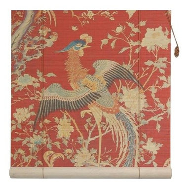 Oriental Unlimted - Red Phoenix Bamboo Blinds (36 in.) - Choose Size: 36 in.With tail feathers unfurled, the phoenix featured on our lovely bamboo roll-up blind will be a striking and colorful addition to any decor. Available in your choice of sizes, the blind is made of matchstick bamboo and is finished in red with gold tone scrolled accents for added visual interest. Feature a Red background with a magnificent image of a phoenix. Easy to hang and operate. 24 in. W x 72 in. H. 36 in. W x 72 in. H. 48 in. W x 72 in. H. 60 in. W x 72 in. H. 72 in. W x 72 in. H
