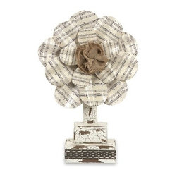 """IMAX - Davis Metal Small Sheet Music Flower Tabletop - From the Ella Elaine designer collection, this small tabletop flower features sheet music petals and an adorable burlap center! Item Dimensions: (17.75""""h x 12""""w x 3.25"""")"""