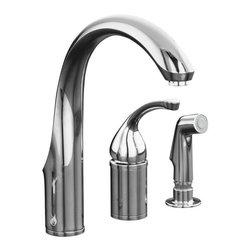 KOHLER - KOHLER K-10430-CP Single-Control Remote Valve Kitchen Sink Faucet - KOHLER K-10430-CP Forte Single-Control Remote Valve Kitchen Sink Faucet with Sidespray and Lever Handle in Polished Chrome