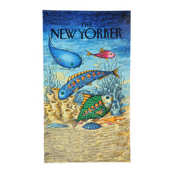 None - Fish with People Inside Beach Towel - Make this your default colorful beach towel if you want to show off your love for the New Yorker. This soft and absorbent towel features a vintage cover design with playful fish carrying human passengers for a ride at the bottom of the sea.