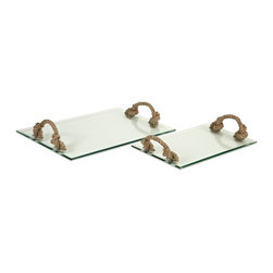 iMax - iMax Hasbrouck Glass Tray w/ Jute Handles - Set of 2 X-2-83717 - This set of simple glass trays with jute handles is at once classy and casual. The handles allow the modern surface of the trays to blend seamlessly into a variety of decor - from rustic to coastal to country - in true eclectic fashion.