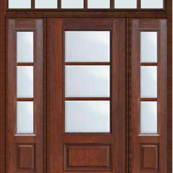 "Prehung French Single Door 96 Wood Mahogany Full Lite 12 Lite - SKU#    MCR06-SDL3_DF34D31-2RDBrand    GlassCraftDoor Type    FrenchManufacturer Collection    3 Lite French DoorsDoor Model    3 LiteDoor Material    FiberglassWoodgrain    Veneer    Price    4990Door Size Options    32"" + 2( 14"")[5'-0""]  $036"" + 2( 14"")[5'-4""]  $036"" + 2( 12"")[5'-0""]  $0Core Type    Door Style    Door Lite Style    3/4 Lite , 3 LiteDoor Panel Style    1 PanelHome Style Matching    Door Construction    TDLPrehanging Options    PrehungPrehung Configuration    Door with Two Sidelites and Rectangular TransomDoor Thickness (Inches)    1.75Glass Thickness (Inches)    Glass Type    Double GlazedGlass Caming    Glass Features    Tempered glassGlass Style    Glass Texture    ClearGlass Obscurity    No ObscurityDoor Features    Door Approvals    TCEQ , Wind-load Rated , AMD , NFRC-IG , IRC , NFRC-Safety GlassDoor Finishes    Door Accessories    Weight (lbs)    663Crating Size    36"" (w)x 108"" (l)x 89"" (h)Lead Time    Slab Doors: 7 Business DaysPrehung:14 Business DaysPrefinished, PreHung:21 Business DaysWarranty    Five (5) years limited warranty for the Fiberglass FinishThree (3) years limited warranty for MasterGrain Door Panel"