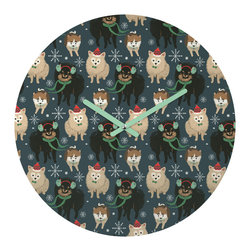"DENY Designs - DENY Designs Pimlada Phuapradit Christmas Canine Pomeranian Round Clock - Talk about a small home decor accessory that makes a HUGE impact! Our affordable 12"" Round Clock comes complete with the artwork of your choice and coordinating clock hands. Hang it on it's own or group it in a collection. Time's a tickin'!"