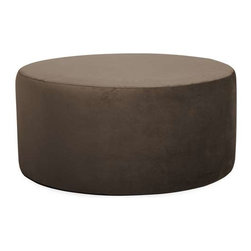 """Howard Elliott Bella Chocolate Universal 36"""" Round Cover - The Bella 36"""" Round is the perfect accent for any and all styles. This luxurious fabric will entice your fashion senses and transform your room with the latest European colors. Their simple design makes them great to use as side tables, ottomans, alternate seating and more."""