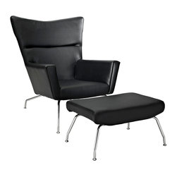 LexMod - Wegner Style ch445 Wing Chair & Ottoman in Black Leather - Gather strength between two joined wingtips with the captivating ch445 Wing Chair. Perched on two back and fore chrome legs, the piece perfectly illustrates the correspondence of elements in motion. Complete with a capacious ottoman, experience incredible style without sacrificing on comfort.
