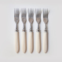 Vintage Soviet Forks with Bone Handles by Cute Old Things, Set of 5 - These vintage, and rather pointy, forks date back to the '70s. I love that their handles are made of ivory bone.