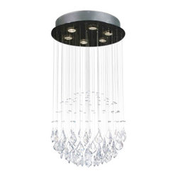 """The Gallery - Modern """"Rain Drop"""" Crystal chandelier Lighting - 100% crystal chandelier. A excellent Crystalixture for your foyer, dining room, living room and more! This fixture features beautiful 100% crystals that capture and reflect the light. Truly a stunning chandelier, this chandelier is sure to lend a special atmosphere anywhere it is placed. Assembly Required. Collection: G902 Modern Collection"""