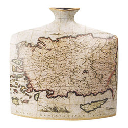 """Porcelain Nautical Map Vase - The nautical map vase measures 13"""" x 13"""". It is made of porcelain. It will add a definite nautical touch to whatever room it is placed in and is a must have for those who appreciate high quality nautical decor. It makes a great gift, impressive decoration and will be admired by all those who love the sea."""
