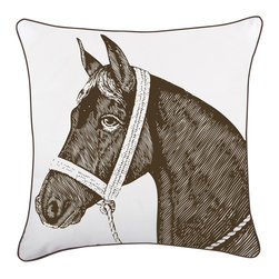 """Thomas Paul - Horse Decorative Pillow - The handmade Thomas Paul Horse decorative pillow features hand screened prints on 100% silk blend.  The horse design is printed in dark brown onto a silk white background with contrasting dark brown piped edge. The throw pillow comes with a feather insert. The print adds a beautiful design to a living room, bedroom, or home office. The pillow pairs well with prints and solids.   About the Artist: After graduating from NYC's famed FIT, Thomas Paul started his career as a colorist and designer at a silk mill. Eventually, he leveraged his knowledge of silk materials & print to launch a neckwear line of his own. Over time, Paul loved the idea of applying menswear print and design into a collection of home decor, which is what we see in his goods today. His background has embedded in him a passion for quality production techniques. Even as his brand grows, he continues to ensure all of his prints are hand screened - a slow, detailed process that results in each piece being a unique piece of artwork. Paul also pushes the envelope in terms of bold prints and hand ground materials.       """"My vision for the thomaspaul brand has always been about combining classic design motifs from different periods in textile design. Incorporating anything from an 18th century Damask pattern to a camouflage print. The unifying thread between so many different styles is to change the designs so they are updated for today. For me this means changing the scale, so they are always bold, and reducing down the colors and details, so most designs are reduced to two or three colors and become very flat, bold prints. I am always looking to vintage fabrics and motifs for inspiration and new ideas, but always try to update these to look good for today."""" - Thomas Paul   Product Details:"""