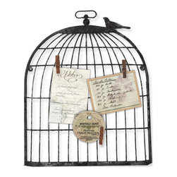 "Enchante Accessories Inc - Metal Wall Bird Cage Photo Holder Bulletin Board 19"" x 15.5"" (Black) - This Metal Bird Cage Bulletin Board is Perfect for your favorite family photos, this whimsical display stand offers a birdcage design that you are sure to love. With its antique-inspired appeal, this piece will continue to enhance your space with casual elegance for years to come."
