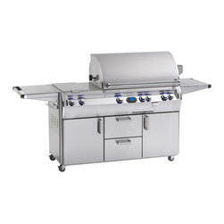 """Fire Magic - Fire Magic E790s Echelon Diamond Cabinet Cart Gas Grill - Exclusive Features of The Echelon Diamond E790 include a builtin paper towel holder, heat zone separators, hot surface electronic ignition, backlit safety knobs, contoured control panel, cart has two 110V plug-in electrical outlets with 12V transformer (builtin requires hard wire, cart requires  Extension cord), dual internal halogen lamps in hood for easier evening grilling, manual tubes for match lighting, builtin L.C.D. digital meat and grill thermometer with remote receiver (which allows you to check the temperature of your meats from inside the house), water tight wood chip smoker drawer with dedicated burner, new cast stainless steel """"E"""" burners and stainless steel valve manifold. The newest addition to the Firemagic line. The second largest cooking surface across the line! This grill offers a true 36"""" across the cooking surface, not the FRAME of the grill like others measure. A total whopping BTU rating of 99,000 on the main cooking surface and a full-length backburner rated at 23,000 BTU's. The total cooking area is almost 800 sq. inches so it can hold just about anything you want to load up! The stainless steel cart features dual storage doors below, a stainless steel prep shelf on the right side, and heavy-duty cart casters for ease of portability. This unit also includes a dual side burner on the left side."""