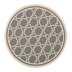 "Safavieh - Indoor/Outdoor Courtyard Round 5'3"" Round Anthracite - Beige Area Rug - The Courtyard area rug Collection offers an affordable assortment of Indoor/Outdoor stylings. Courtyard features a blend of natural Anthracite - Beige color. Machine Made of Polypropylene the Courtyard Collection is an intriguing compliment to any decor."