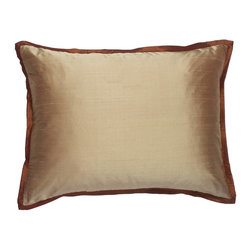 "Mystic Valley - Mystic Valley Traders Profiles Silk Bronze - Queen Sham - The Profiles Silk Bronze sham is fashioned from the Fawn fabric, reversing to the Bronze fabric, and finished with a 1/2"" Russet mitred flange; sold flat (without fills); queen 20""x30"","
