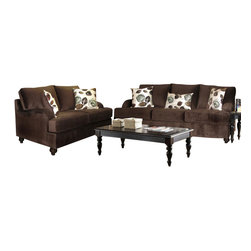 Chelsea Home Furniture - Chelsea Home Chloe 2-Piece Living Room Set in Bella Chocolate - Tory Spa Pillows - Chloe 2-Piece living room set in Bella Chocolate - Tory Spa Pillows belongs to the Chelsea Home Furniture collection