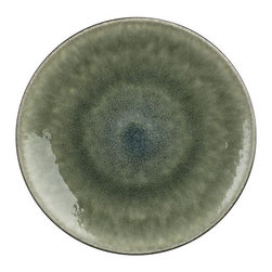 "Samoa Dinner Plate - Earthy, Asian-inspired dinnerware is both chic and soothing in luscious, graduating hues of moss green. Minimal modern styling allows the color drama to take center stage. Unique shapes are both casual and elegant; the inviting reactive glaze ensures that no two pieces are exactly alike. Satin exterior finish has a ""cast iron"" appeal. Quality and integrity of design, only from one of France's original ceramic factories."