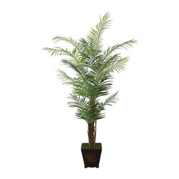 Laura Ashley - Laura Ashley 7 ft. Silk Areca Palm Tree w Wood Planter - Constructed from Plastic, polyester, rocks, foam, glue, wire, wood. Planter-Container Included. Assembly Required. Lifelike Areca palm tree in an ornamental planter. No need to shop for a planter separately - comes complete with decorative planter. High quality artificial plant offers years of beauty with virtually no maintenance. Add life to your decor, place in a corner to soften edges and make a room more welcoming. Decorate your home or office. 52 in. L x 48 in. W x 84 in. H (24.618 lbs.)The Laura Ashley Brand known for luxury and stylish design lets you feel the sand under your toes and sea breezes on your face each time you look at your Areca palm tree. It contains both mature and new growth leaves on its multiple trunks, and there is no need to shop for a planter separately - the planter pictured is included. The perfect choice for your home or office environment. Plants add a feeling of life to a room, making it warmer and more welcoming; artificial plants let you decorate without concern for water damage, trimming, or soil. This high quality tree is brought to you by Vintage Home - setting the standard in permanent botanicals, Vintage Home products bring you a richer and more realistic plant.