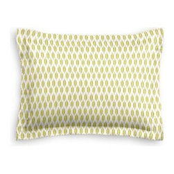 Green & Gray Ikat Dot Custom Sham - The Simple Sham may be basic, but it won't be boring!  Layer these luxurious reversible shams in various styles for a bed you'll want to fall right into. We love it in this ikat dot in lime green and gray on the softest white cotton sateen. As cute as it is contemporary.