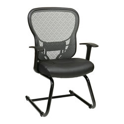 Office Star - Space Seating 529 Series Deluxe R2 SpaceGrid Back Visitors Chair w/ Fixed Arms & - Deluxe R2 SpaceGrid Back Visitors Chair With Fixed T Arms And Thick Padded Eco Leather Seat, Nylon Metal Sled Base
