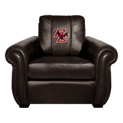 Dreamseat Inc. - Boston College NCAA Chesapeake Black Leather Arm Chair - Check out this Awesome Arm Chair. It's the ultimate in traditional styled home leather furniture, and it's one of the coolest things we've ever seen. This is unbelievably comfortable - once you're in it, you won't want to get up. Features a zip-in-zip-out logo panel embroidered with 70,000 stitches. Converts from a solid color to custom-logo furniture in seconds - perfect for a shared or multi-purpose room. Root for several teams? Simply swap the panels out when the seasons change. This is a true statement piece that is perfect for your Man Cave, Game Room, basement or garage.