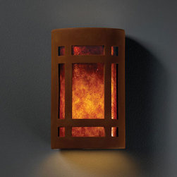 Justice Design Group - Ambiance Real Rust Small Craftsman Window Bathroom ADA Wall Sconce - - Small Craftsman Window Open Top & Bottom Wall Sconce. Mica Shade is for Indoor Only.  - Shade Detail - Mica  - Made in USA  - Shade Material - Ceramic and Glass Justice Design Group - CER5485RRSTMICA