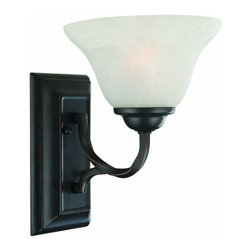 DHI-Corp - Drake 1-Light Wall Sconce, Oil Rubbed Bronze - The Design House 514927 Drake 1-Light Wall Sconce is made of formed steel, alabaster glass and finished in oil rubbed bronze. This sconce's petite design mounts seamlessly to the wall without a chain or visible wires. This 1-light sconce is rated for 120-volts and uses (1) 60-watt medium base incandescent bulb. Measuring 10.2-inches (H) by 7.5-inches (W), this 2.5-pound fixture can be mounted facing up or down depending on location and preference. Twisted steel accentuates the alabaster glass to create an elegant accent in a bathroom or hallway. This product is UL and CUL listed and approved for damp areas. The Drake collection features a beautiful matching chandelier, vanity light, pendant, wall mount and ceiling mount. The Design House 514927 Drake 1-Light Wall Sconce comes with a 10-year limited warranty that protects against defects in materials and workmanship. Design House offers products in multiple home decor categories including lighting, ceiling fans, hardware and plumbing products. With years of hands-on experience, Design House understands every aspect of the home decor industry, and devotes itself to providing quality products across the home decor spectrum. Providing value to their customers, Design House uses industry leading merchandising solutions and innovative programs. Design House is committed to providing high quality products for your home improvement projects.