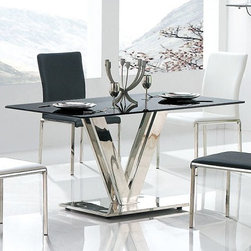 Armen Living - Vengo Dining Table Stainless/Glass Top - Where simplicity meets comfort. This classic contemporary dining group is ever inviting. Bringing together friends with friends to share and break bread with the fruits of the vine. Bon appetite!