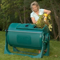 "Sun-Mar 400 Autoflow 102 Gallon Compost Tumbler - The Sun-Mar 400 Autoflow 102 Gallon Compost Tumbler is a continuous composter with an 11 bushel (100 gallon) capacity. It's almost twice the size of the Sun-Mar 200 and is ideal for kitchen scraps and garden cuttings from medium-sized gardens. The AutoFlow system allows material to continuously """"flow"""" or move through a special double-drum setup. Heavier material settles to the bottom. Lighter decomposed material finds its way to the top and eventually enters the inner drum. Using the flow system finished composed is """"forced"""" out when you open the port and rotate. Dispensing compost is simple! Sun-Mar has revolutionized garden composters. Filling the Composter - Just slide the feed-port open add waste shut the port and rotate the drum. The input height is 33"""" on the 400 so it is easy to add new material. Rotating the Drum - Whether it is the 200 or 400 the drum rotates easily on its bearings. On the 400 use the geared-down shaft handle to turn the drum. Removing Compost - When the compost drum is more than half full unscrew and remove the output port rotate the drum and compost will drop into a bushel basket or other container. To remove compost when the drum is less than half full (before it has traveled back along the inner drum) open the feed port and rotate the drum. Assembly - Install the shaft assembly then just snap the cradle onto the drum bearings and you're ready to go. The optional rollers can be snapped into the cradle base making the composter easy to move on a hard surface. Double drum keeps compost moving as it decomposes Compost that's ready automatically sifts into the inner drum Pest proof No waiting for batches to finish Compact size with big capacity Snap-on optional wheels"