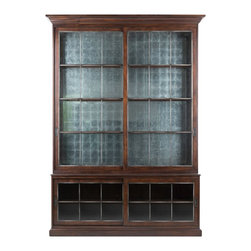 Lillian August - Lillian August Two Pieces Galbraith Sliding Door Cabinet LA13041-01 - Lighted with wood framed glass shelves. A blend of casual sophistication and old world charm make this cabinet an ideal answer for many settings, whether dining or library. Finished in a and-rubbed dark chestnut with hand wrought iron mullions. Eglomise back panel in upper section.