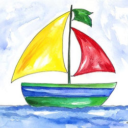 Oh How Cute Kids by Serena Bowman - Yellow Sailboat, Ready To Hang Canvas Kid's Wall Decor, 16 X 20 - Each kid is unique in his/her own way, so why shouldn't their wall decor be as well! With our extensive selection of canvas wall art for kids, from princesses to spaceships, from cowboys to traveling girls, we'll help you find that perfect piece for your special one.  Or you can fill the entire room with our imaginative art; every canvas is part of a coordinated series, an easy way to provide a complete and unified look for any room.
