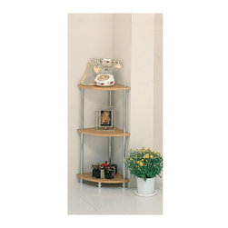"Coaster - ""Coaster Corner Rack, Chrome"" - ""Three tier corner rack with oak shelves and chrome support beams.Dimensions (W x L x H): 12.00"""" x 17.00"""" x 43.50""""Finish/Color: OakAssembly Required: NoMade in Taiwan"""