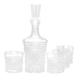Waterford Crystal - Waterford Crystal Copper Coast Whiskey Decanter And 4 Rocks Glasses 159432 - Waterford Copper Coast Whiskey Decanter And 4 Rocks Glasses  -  Artist: Matt Kehoe  -  Don't Buy From An Unauthorized Dealer  -  Genuine Waterford Crystal  -  Fully Authorized U.S. Waterford Crystal Dealer  -  Stamped With The Waterford Seahorse Symbol Of Excellence  -  Waterford Crystal UPC Number: 024258513617
