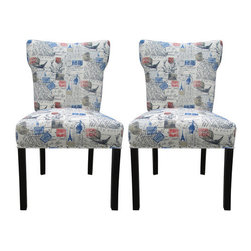 """Sole Designs - Bella Side Chair (Set of 2) - Features: -Color: Blue. -Fire retardant foam. -Wipe clean. -Made in the USA. Dimensions: -37"""" H x 20"""" W x 25"""" D, 50 lbs."""